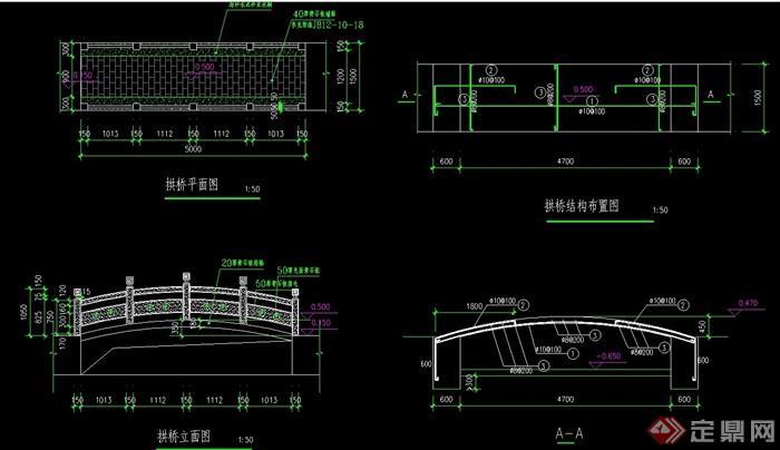 精致详细的拱桥cad平立剖面图cad自宽定义怎么线图片