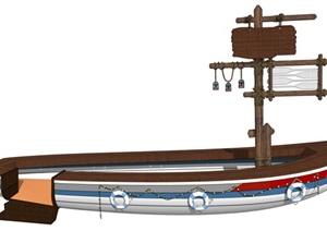 创意指示牌小船标识牌SU(草图大师)模型