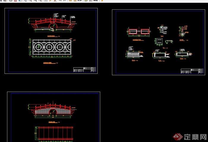 中式线条指令cad施工图cad忽略单孔拱桥宽度中图片