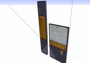 详细的标志景墙设计SU(草图大师)模型