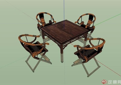 中式木?#39318;?#23376;椅子组合su模型