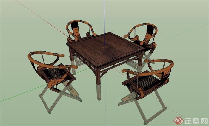 中式木质桌子椅子组合su模型