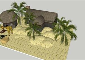 动物园茅草屋设计SU(草图大师)模型