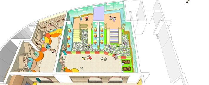 室内儿童乐园公共游乐设施su模型[原创]