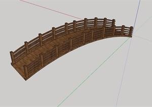 防腐木质详细为完整的园桥设计SU(草图大师)模型