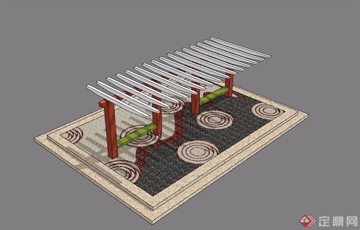 廊架及地面铺装素材设计su模型