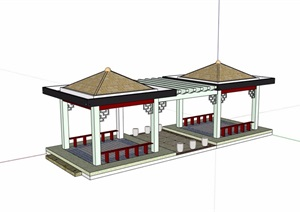 现代双亭连花架设计SU(草图大师)模型