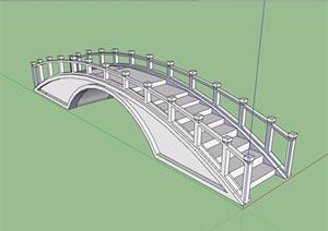 现代石桥拱桥设计SU(草图大师)模型