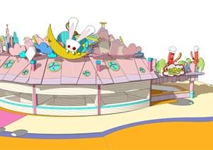 飓风飞骑游乐设施售卖亭SU(草图大师)模型