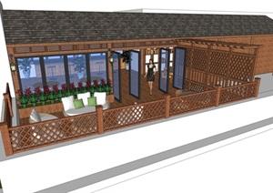 某详细的屋顶休闲吧设计SU(草图大师)模型