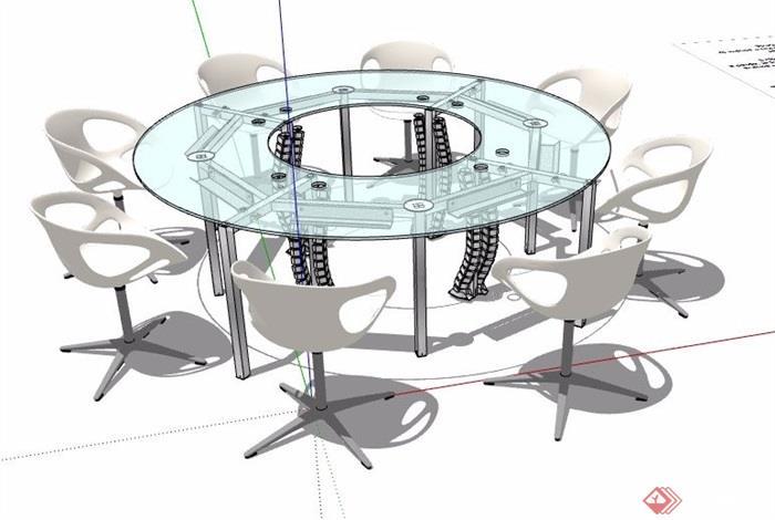 环形玻璃会议桌椅组合su模型