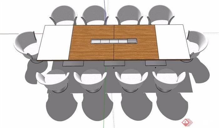 现代风格长形会议桌椅组合su模型