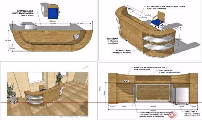 现代风格木制服务台前台设计su模型