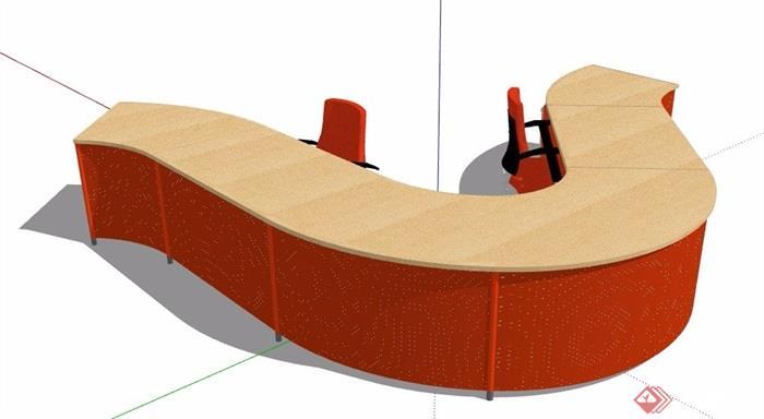 现代风格流线型服务台设计su模型