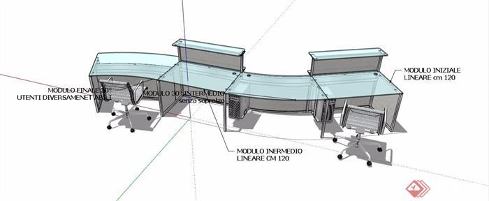 现代风格玻璃材质服务台设计su模型
