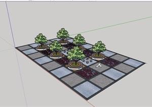 中式风格休闲小广场设计cad施工图