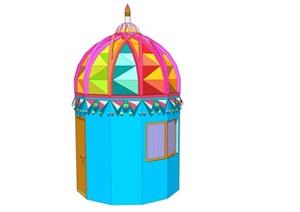 创意儿童乐园警卫亭服务亭保安亭SU(草图大师)模型