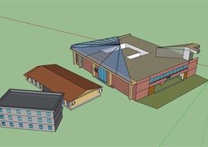 某食堂详细建筑设计SU(草图大师)模型