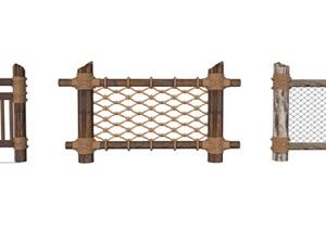 木?#19990;?#26438;麻绳栏杆SU(草图大师)模型