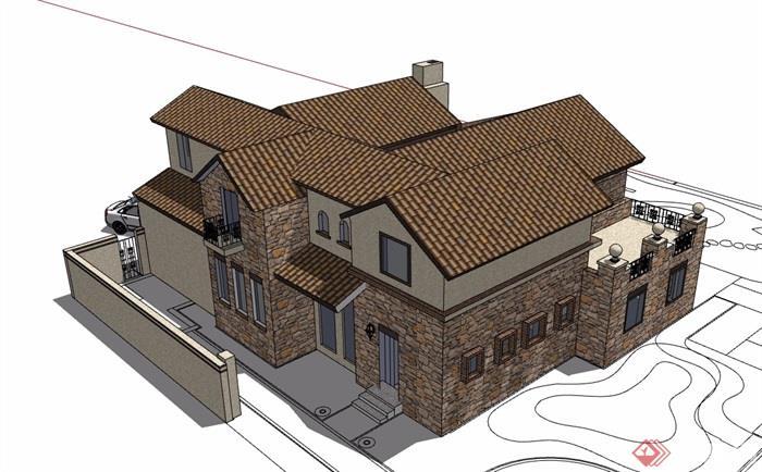 欧式风格详细的一个小别墅设计su模型