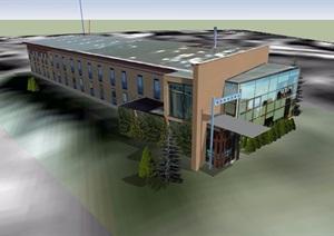 两层详细的餐馆建筑设计SU(草图大师)模型