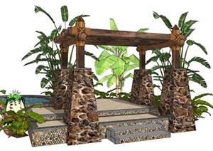 木质廊架麻绳花架温泉泡池SU(草图大师)模型