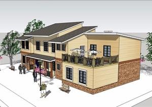 两层欧式风格详细餐厅建筑SU(草图大师)模型