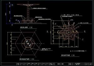 休闲详细点式花架设计cad施工图