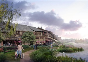 某民俗古镇总体规划设计SU(草图大师)精细模型