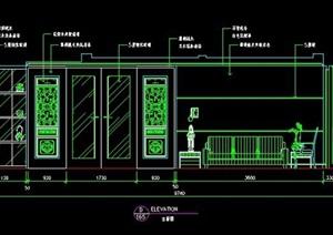 中式风格家装住宅室内装修立面图