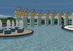 极富中式文化特色-融入宗教元素设计-某大型道教文化广场景观规划设计SU(草图大师)模型