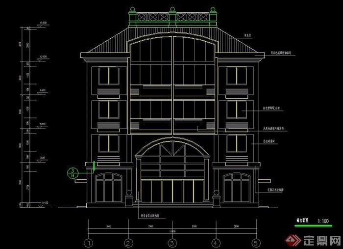 欧式风格4层住宅楼建筑施工图