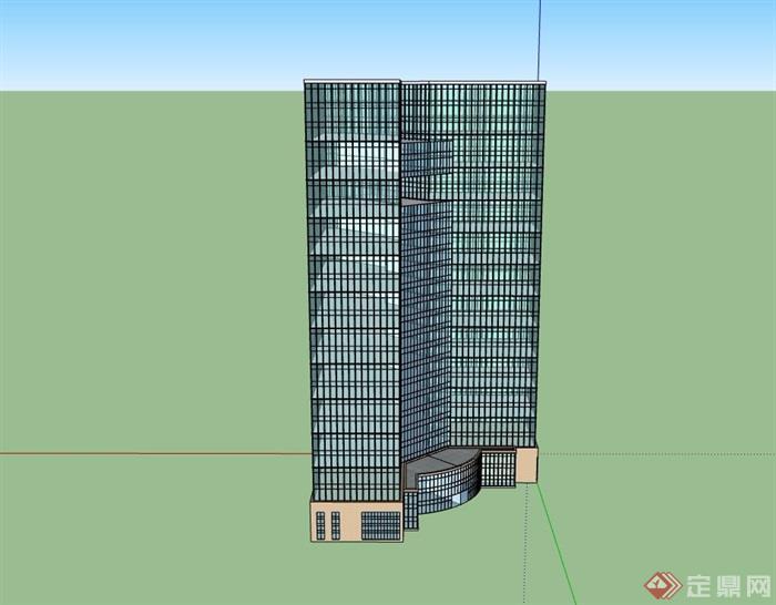 详细的完整办公大厦建筑楼su模型