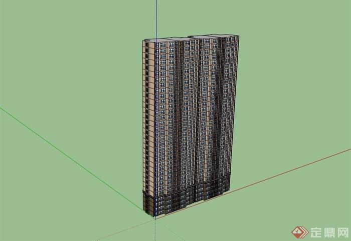 高层详细的住宅楼建筑su模型