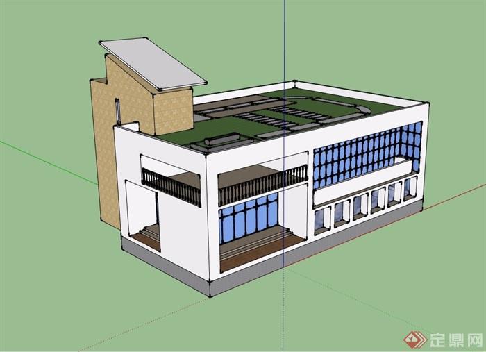 两层食堂建筑设计su模型