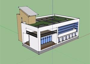 两层食堂建筑设计SU(草图大师)模型