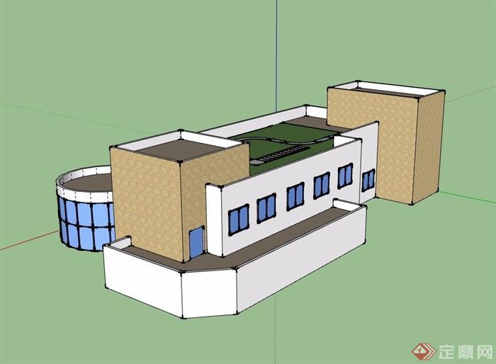 详细多层餐厅建筑su模型