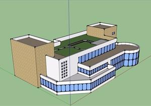 详细多层餐厅建筑SU(草图大师)模型
