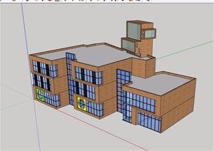 三层餐馆建筑设计SU(草图大师)模型