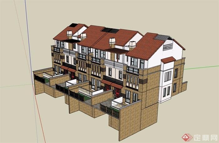欧式风格详细的联排别墅设计su模型