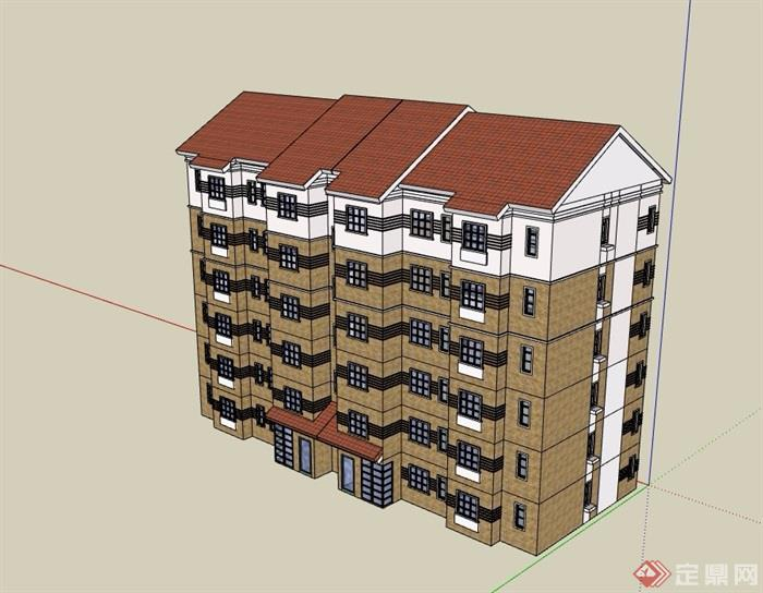 6层单元房住宅楼建筑设计su模型