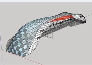 景观桥独特详细设计SU(草图大师)模型
