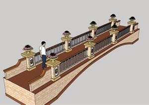 景观桥详细设计SU(草图大师)模型