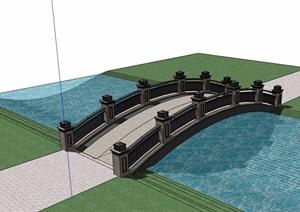 现代中式景观桥设计SU(草图大师)模型