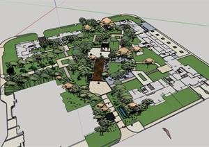 详细的住宅小区景观设计SU(草图大师)模型