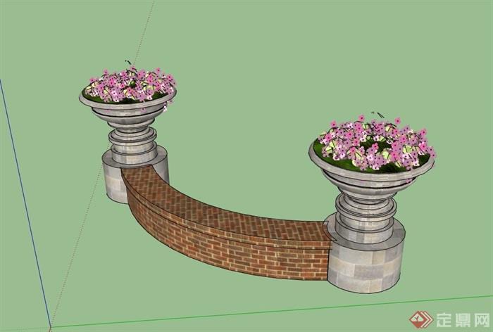 现代花钵坐凳素材设计su模型