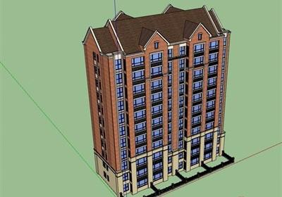 欧式风格住宅高层建筑楼设计su模型