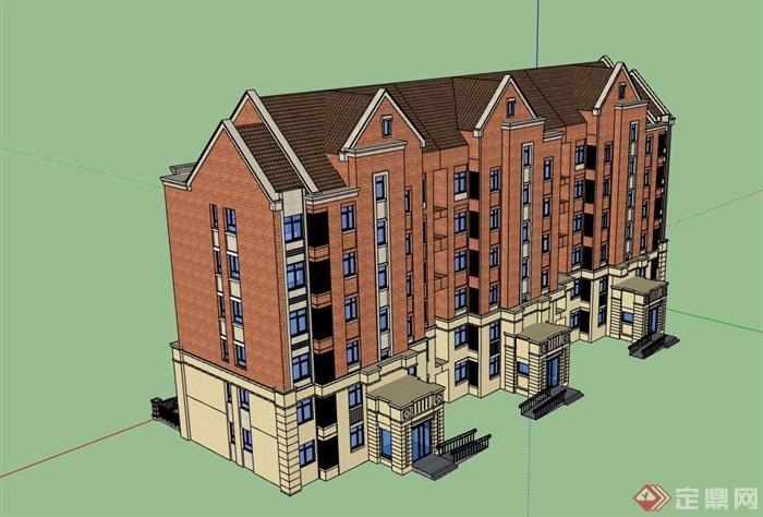 6层欧式风格详细的住宅小区楼su模型