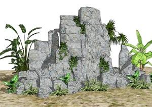 假山叠石芭蕉植物石头旅人蕉景观SU(草图大师)模型