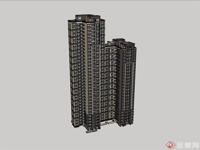 小区两栋住宅高层建筑楼设计su模型
